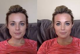 the one on the left is sans any makeup at all the second is my new makeup application following cara s guide for an oblong face shape