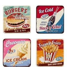 American Diner Kitchen Accessories Past Perfect Set Of 4 American Diner Coasters Butlers England