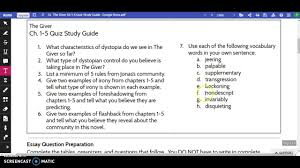 the giver ch quiz study guide  the giver ch 1 5 quiz study guide