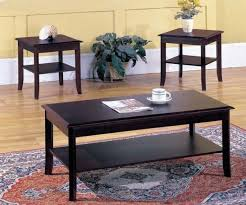 kings brand 3 piece wood occasional coffee table 2 end tables set cherry