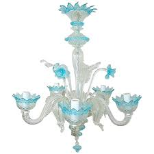 blue glass chandelier vintage of crystal with accents cobalt murano