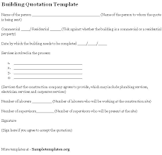 Bid Building Quotation Templates Free Proposal Template Word Excel