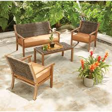 kapolei 4 piece wicker patio conversation set with reddish brown cushions
