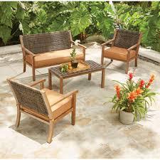 hampton bay kapolei 4 piece wicker patio conversation set with reddish brown cushions