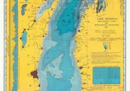Lake Michigan Bathymetry Chart Depth Map Of Lake Michigan Bathymetric Maps Michigan