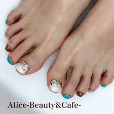 夏旅行海フットシェル Aliceのネイルデザインno3226275ネイル