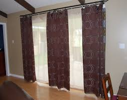 brown curtain panel combined white sheer curtain captivating ds for sliding glass door interior