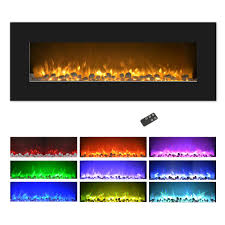 electric fireplace wall mounted color changing led flame and remote 50 inch by