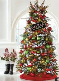 Enchanting colors of bright red, lime green, black and white bring your Christmas  tree