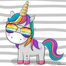 Fotografie Obraz Cute Unicorn With Sun Glasses Posterscz