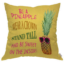 Moslion Throw Pillow Cover Case Funny Pineapple Quotes Wear A Crown Stand Tall Be Sweet Inside Cotton Linen Cushion Covers For Couchsofakitchenboy