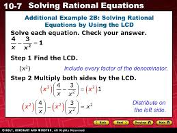 10 7 solving rational equations additional example 2b solving rational equations by using the