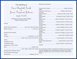 wedding party program templates
