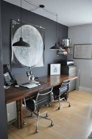 modern home office design displaying. Dark Wood Desk / Grey Wall For Office - Perfect Sharing. Modern Home Design Displaying