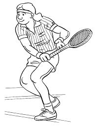 Kleurplaat Man Is Aan Het Tennissen In Gestreept Shirt