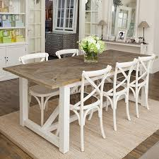 elm top dining table with white timber base