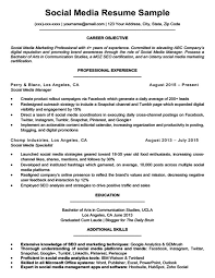 Social Media Resume Unique Social Media Resume Sample Writing Tips Resume Companion