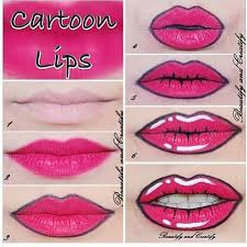 diy easy cartoon lips done with stuff you probably have in your makeup