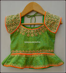 Full Blouse Designs For Children S Kids Lehenga Hand Embroidery Designs Angalakruthi Kids