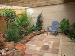 Exterior:Comfortable Covered Patio Garden Design Ideas Using Blue Wooden  Chairs Also Stone Decor Plus