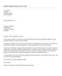 Postdoctoral Cover Letter Cover Letter College Professor Cover