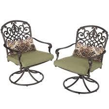hampton bay edington swivel patio dining chair w