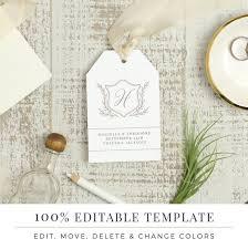 Hang Tag Template New Wedding Favor Tag Template Printable Hang Tags Word Or Etsy