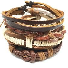 genuine leather cuff bracelet multi layered