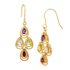 1 3 4 ct natural multi stone chandelier earrings in 18k gold plated brass