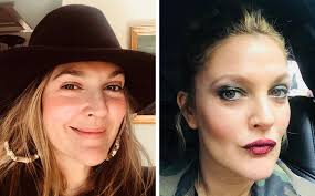 actress drew barrymore posing with and without makeup on