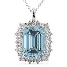 emerald cut aquamarine diamond pendant 14k white gold