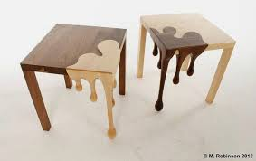 Unique Wooden Table with Droplets Sculpture