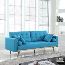 Light Blue Mid Century Sofa Details About Mid Century Modern Tufted Linen Fabric Sofa In Light Blue