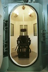 modern electric chair. view of the gas chamber used for executions inside modern electric chair i