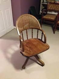 antique oak swivel desk chair with cane back