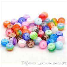 <b>1000PCS lot Mixed</b> Stripes Resin Round Loose Spacer Beads ...