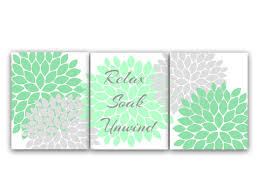 >bathroom canvas wall art relax soak unwind mint green and