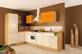 wall paint with brown furniture. Brown Wall Paint And Orange Kitchen Cabinets With Furniture F