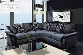shannon farrow corner sofa fabric 2cr2 black grey amazon co uk kitchen home