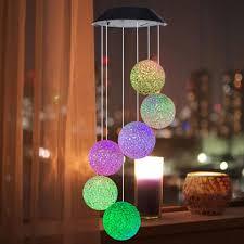 ĐÈN LED Năng Lượng Mặt Trời đèn chuông gió bóng tròn xoắn ốc đổi màu - Đèn  ngoài trời Hãng OEM