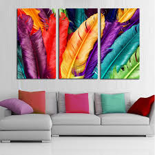 3 piece fresh look color feather modern home wall decor painting canvas