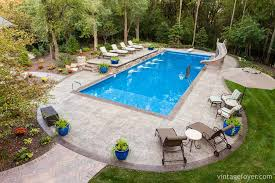Rectangle pool Hot Tub Here We Have Simple Rectangular Pool That Has Slide Attached And Plenty Of Patio Space For Lounging Or Entertaining This Inground Pool Is Accented Vintage Foyer 42 Gorgeous Inground Pool Ideas