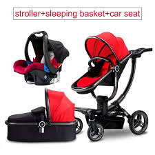 3 in 1 luxury leather baby stroller two way cart high landscapestroller sitting trolley four
