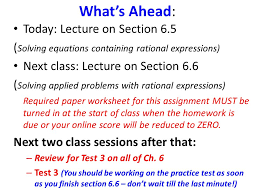 what s ahead today lecture on section 6 5