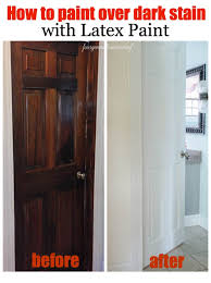 how to paint over dark stained wood with white latex paint
