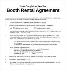 Vendor Sample Booth Rental Agreement Free Download Photo Contract ...