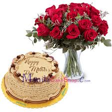Delivery Mothers Day Red Roses Vase With Cake To Manila Philippines