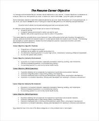 Objectives For A Resume Career Objective Resume Example Good Resume