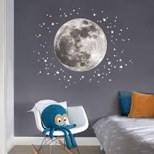 Moon And Stars Fabric Wall Sticker   Wall sticker, Moon and Star