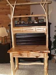 rustic hutch dining room: log dining hutch hutch desk front lg log dining hutch